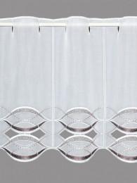 Elegant mit Wellen in aubergin-weiß bestickte Scheibengardine mit hochwertigen Spachtelapplikationen.