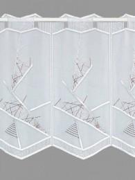 Moderne Scheibengardine, bestickt mit einem grafischen Muster in weinrot-weiß