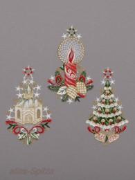 kleine Fensterbilder in den Motiven Kerze, Kirche und Weihnachtsbaum