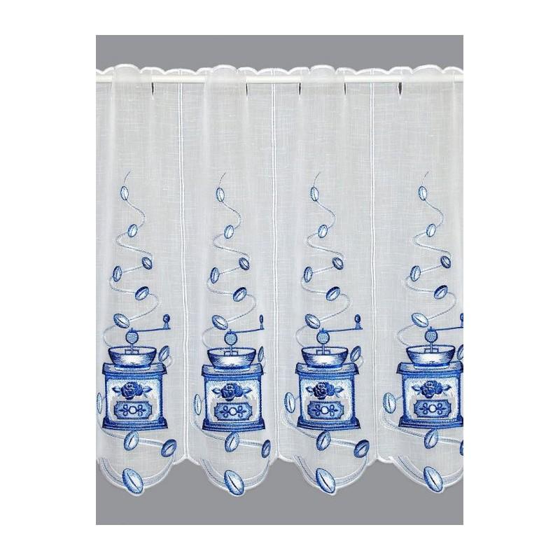 Mit blauen Kaffeemühlen bestickte Küchen-Scheibengardine in 55 cm Höhe