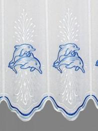 Scheibengardine Delfine in blau detailansicht