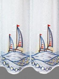 Kurzgardine Segelboote im Sonnenuntergang detailbild