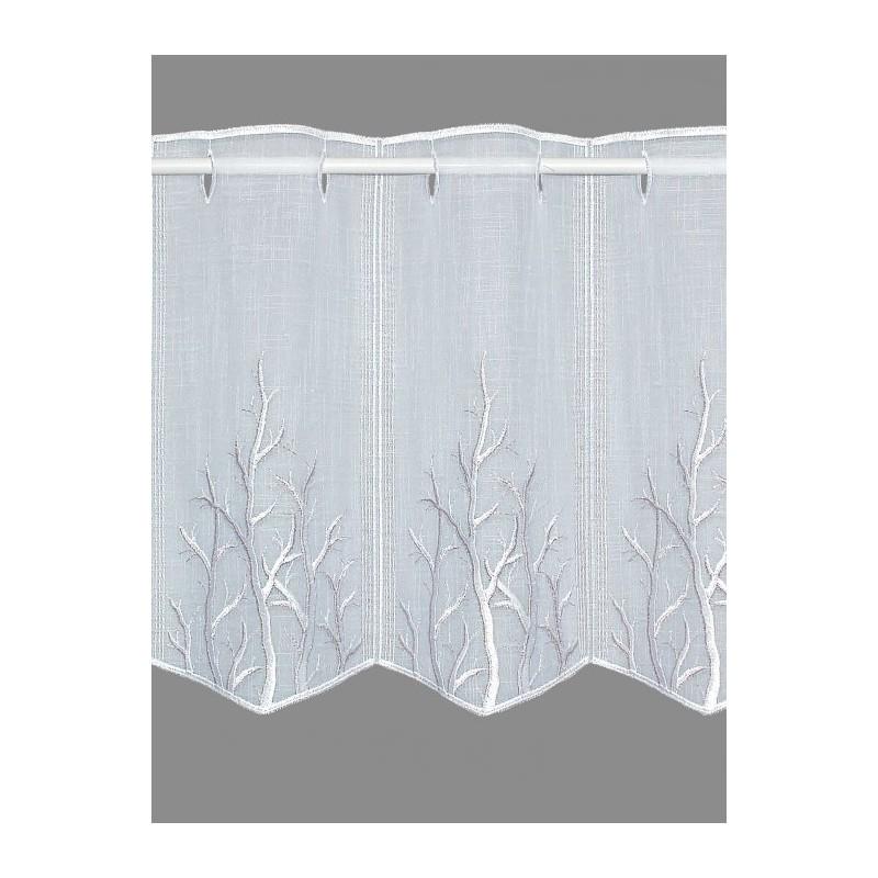 Diese zeitlose Stickerei-Kurzgardine ist mit moderne Zweigen in weiß und taupe bestickte.