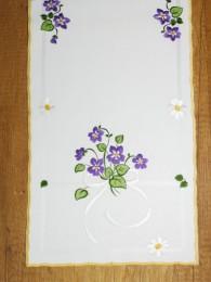 Tischwäsche Veilchen in weiß