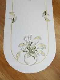 Stickerei-Tischwäsche Calla gelb