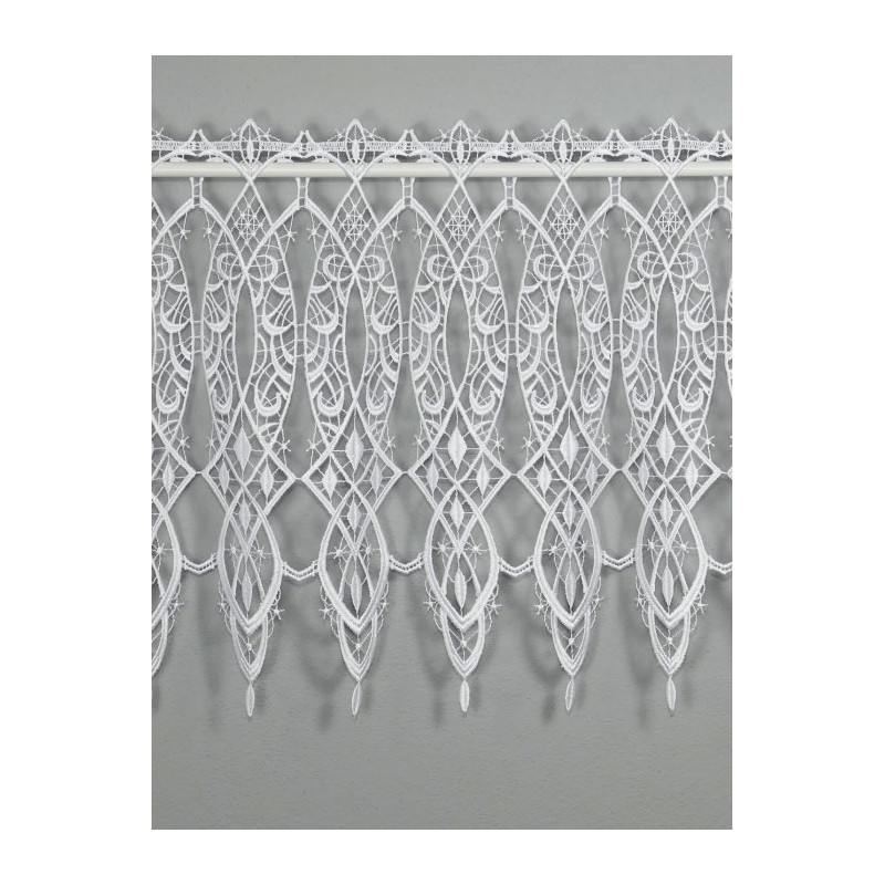 Zeitlos eleganten weiße Spitzengardine in 40 Höhe