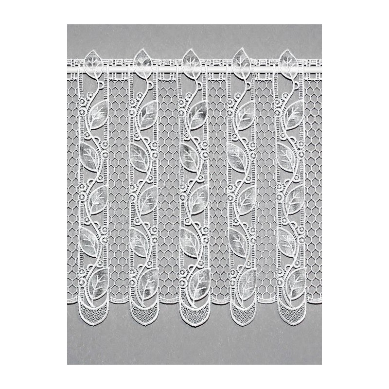 Elegante Blätterranken aus Plauener Spitze zieren diese weiß Scheibengardine.