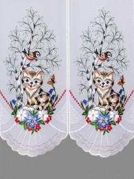 Stickereigardine Katze an der Birke Detailansicht