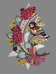Fensterbild mit Vogel und Flieder aus Plauener Spitze