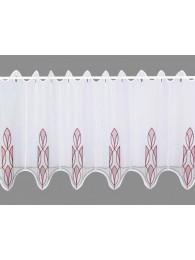 bestickte Kurzgardine Ricarda in grau-rotbraun