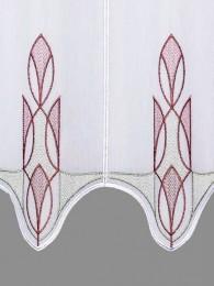Kurzgardine Ricarda in grau-rotbraun detailbild