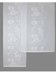Attraktiv mit weißen Rosenblüten bestickte Flächengardine in 2 Breiten.