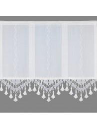 Moderne Flächengardine mit attraktivem Spitzenabschluß in weiß.