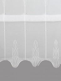 Zeitlos und modern in weiß bestickte Raffgardine in 170 cm Höhe