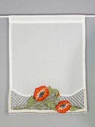 Hochwertiger Spitzen-Scheibenhänger mit Mohnblumen- Spitzenapplikation am unteren Rand