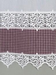 Landhausgardine Leona in weiß-weinrot kariert Detailbild