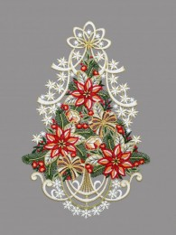 Festlich mit großen Weihnachtssternen dekorierter Christbaum aus Plauener Spitze