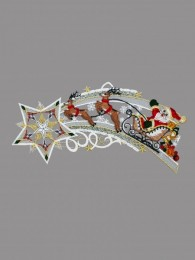 Sternenschweif mit Weihnachtsmann und Rentierschlitten aus Plauener Spitze