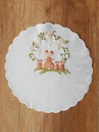 Stickereidecke Hasenfamilie