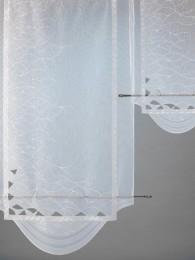 Atemberaubende weiße Plauener Stickerei-Flächengardine mit kleinen Spachtelapplikationen