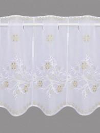 Mit zarten Zweigen und Eissternen in weiß und gold bestickte Wintergardine