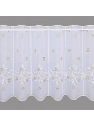 Mit zarten Zweigen und Eissternen in weiß und gold bestickte Wintergardine breit