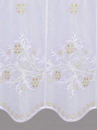 Mit zarten Zweigen und Eissternen in weiß und gold bestickte Wintergardine Nahaufnahme