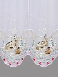 mit kleiner Winterlandschaft bestickte Kurzgardine Detailansicht