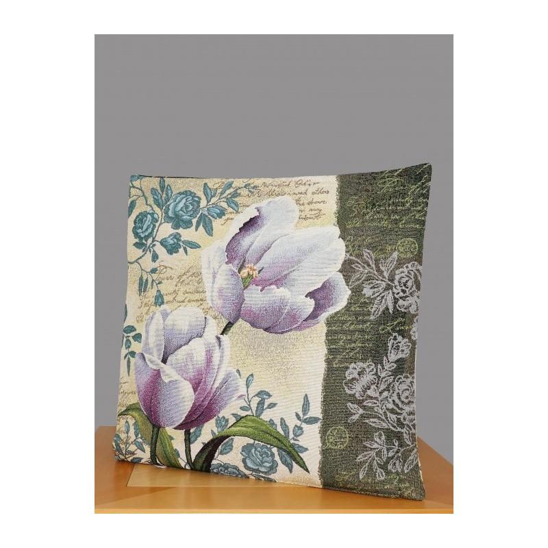 Diese moderne Gobelin Kissenhülle zeigt zwei lila Tulpen auf beigefarbenem Grund