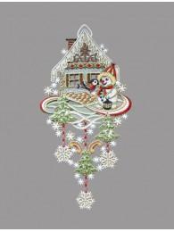 Schneemann mit Haus und Vogel aus Plauener Spitze in gold