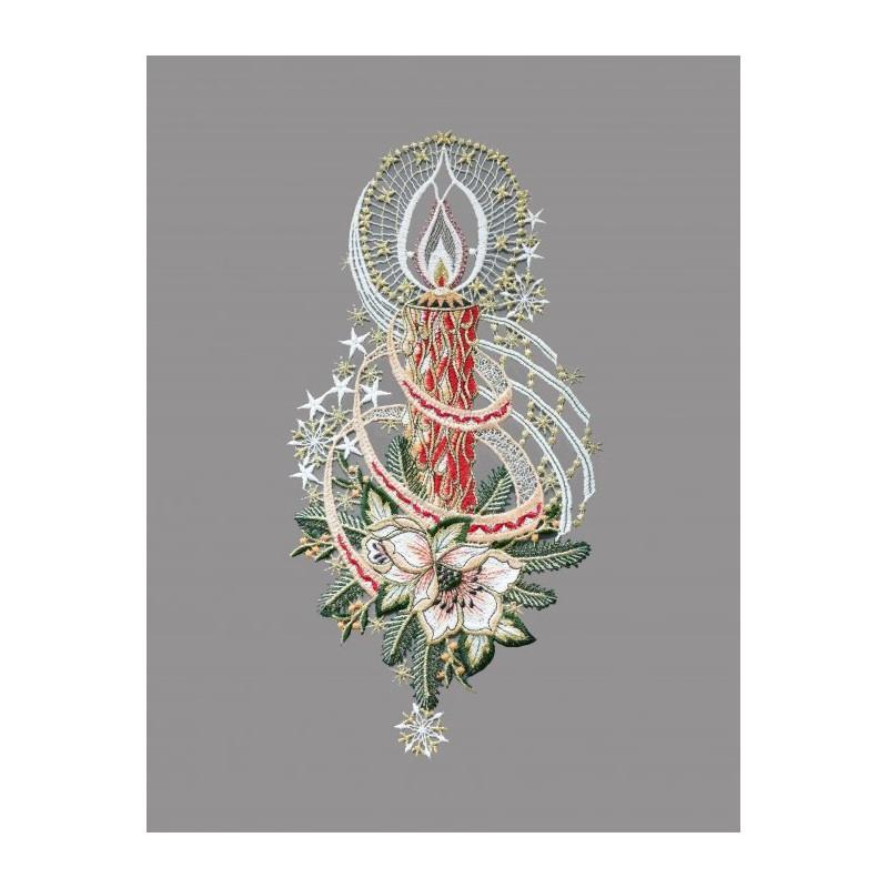 Kerzen mit Zweigen und Christrose aus Plauener Spitze