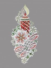 Kerze mit großem Schneekristall als Fensterbild aus Plauener Spitze