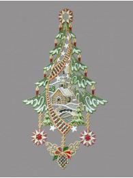 Weihnachtsfensterbild mit kleiner Kapelle aus Plauener Spitze