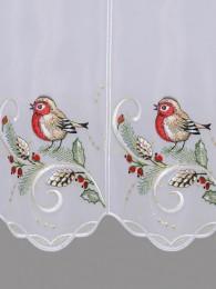 mit Vögeln, Zapfen und Zweigen bestickte Kurzgardine detail