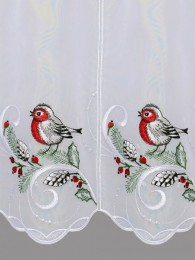 Festlich bestickte Kurzgardine mit Vogel und Zapfen Detailbild