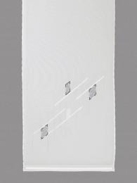 Modern in weiß, hellgrau und anthrazit bestickte transparente Flächengardine.