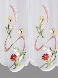 Stickerei-Scheibengardine Blumengirlande detailbild