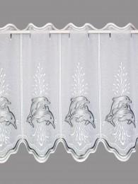 Diese maritime Kurzgardine aus blickdichtem weißem Voile ist mit spritzenden Delphinen in weiß und silbergrau bestickt.