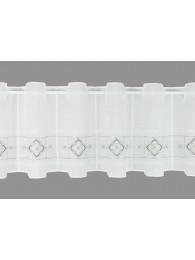 Bestickte Kurzgardine Liesel in weiß-grau klein