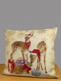 Gobelin-Kissenbezug in beige mit niedlichen Weihnachtsrehen, Geschenkepäckchen und Hase.