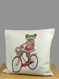 Gobelin Kissen Frosch mit Fahrrad