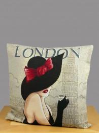 Gobelin Kissen Londoner Dame