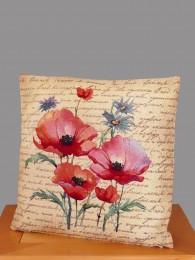 Gobelin Kissen Mohn und Kornblumen