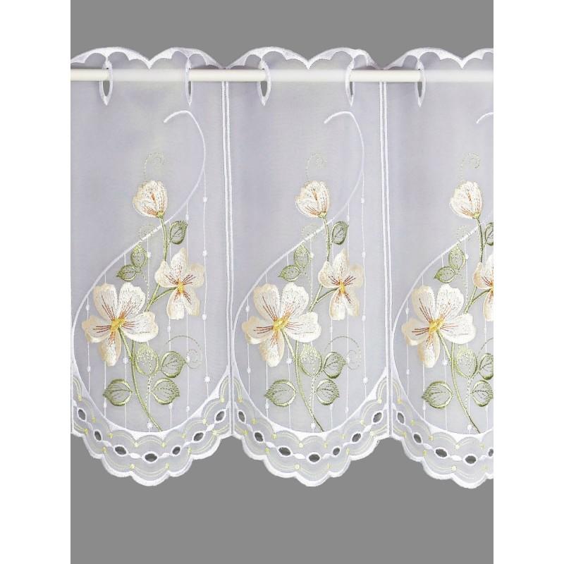 Edle Scheibengardine, bestickt mit romantischen Blumen in ansprechendem beige.