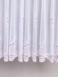Durchgehend mit mit Ornamenten in beige und taupe bestickter weißer Langstore.