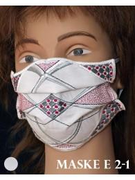 Bestickte Mund-und Nasen-Maske Behelfs-Mundschutz in rot-gau