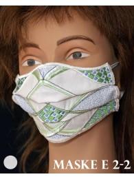 Bestickte Mund-und Nasen-Maske Behelfs-Mundschutz in weiß-grün