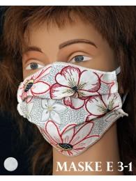 Bestickte Mund-und Nasen-Maske Behelfs-Mundschutz Blüten rot