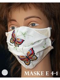 Bestickte Mund-und Nasen-Maske Behelfs-Mundschutz Schmetterlinge rot