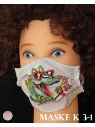 Bestickte Kinder-Mund-und Nasen-Maske Behelfs-Mundschutz Dino